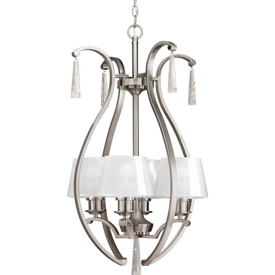 Progress Lighting Dazzle 18-in 4-Light Brushed Nickel Clear Glass Shaded Chandelier