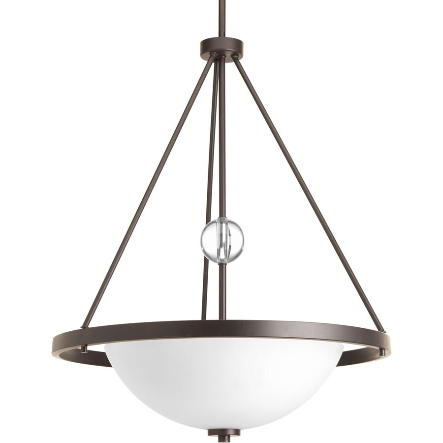 Progress Lighting Compass 22-in 3-Light Antique Bronze Etched Glass Shaded Chandelier