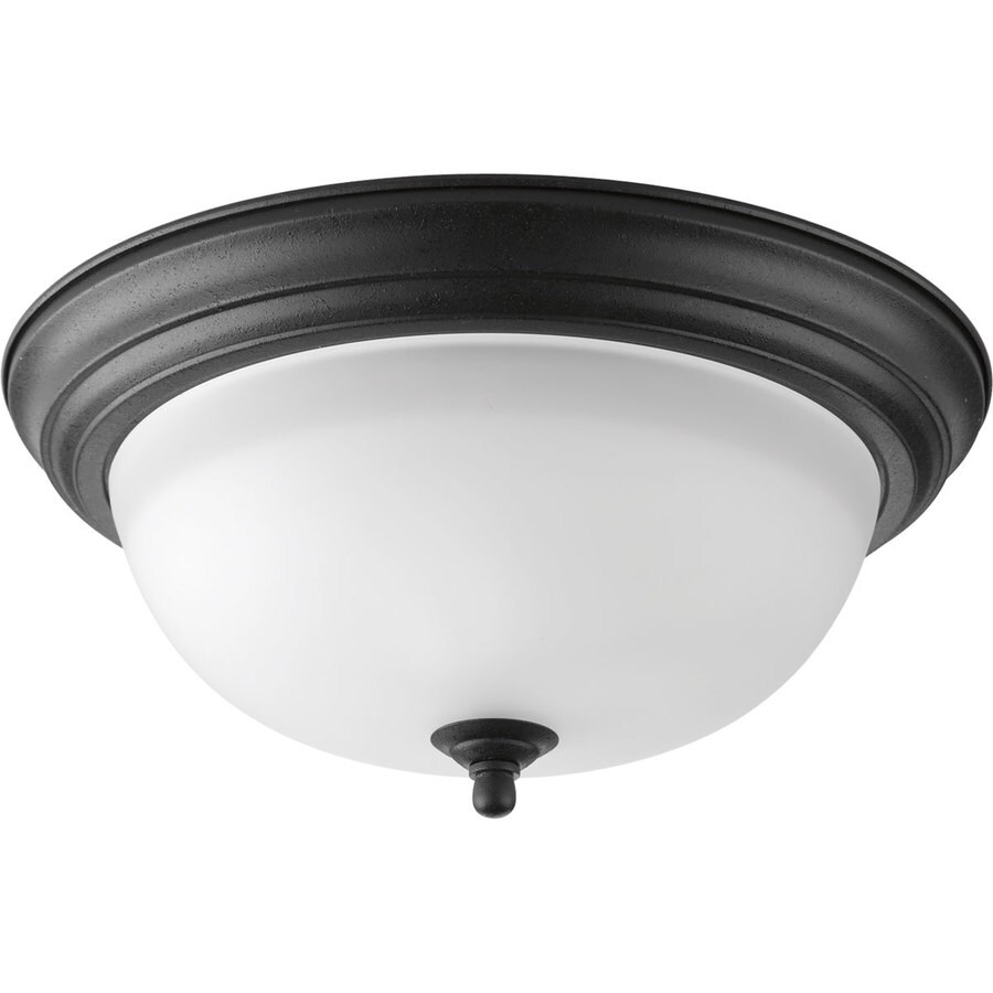 Progress Lighting 13.25-in W Forged Black Standard Flush Mount Light