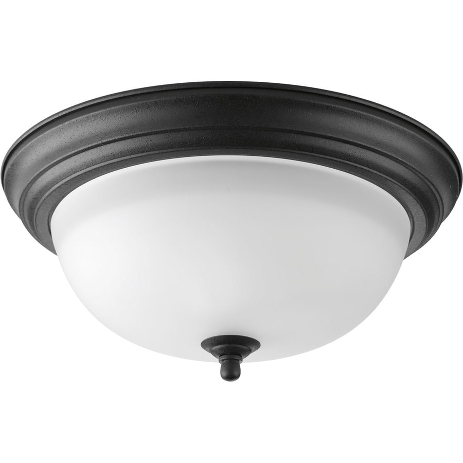 Progress Lighting 13.25-in W Forged Black Flush Mount Light
