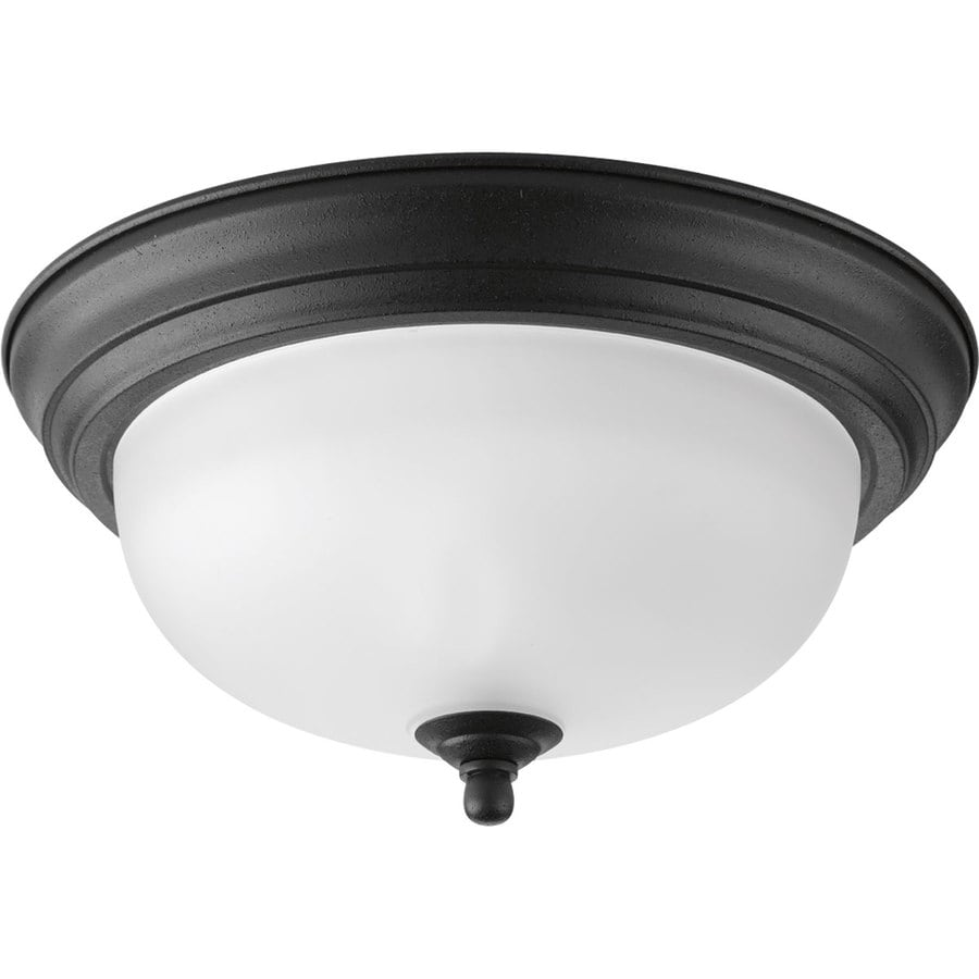 Progress Lighting 11.375-in W Forged Black Ceiling Flush Mount Light