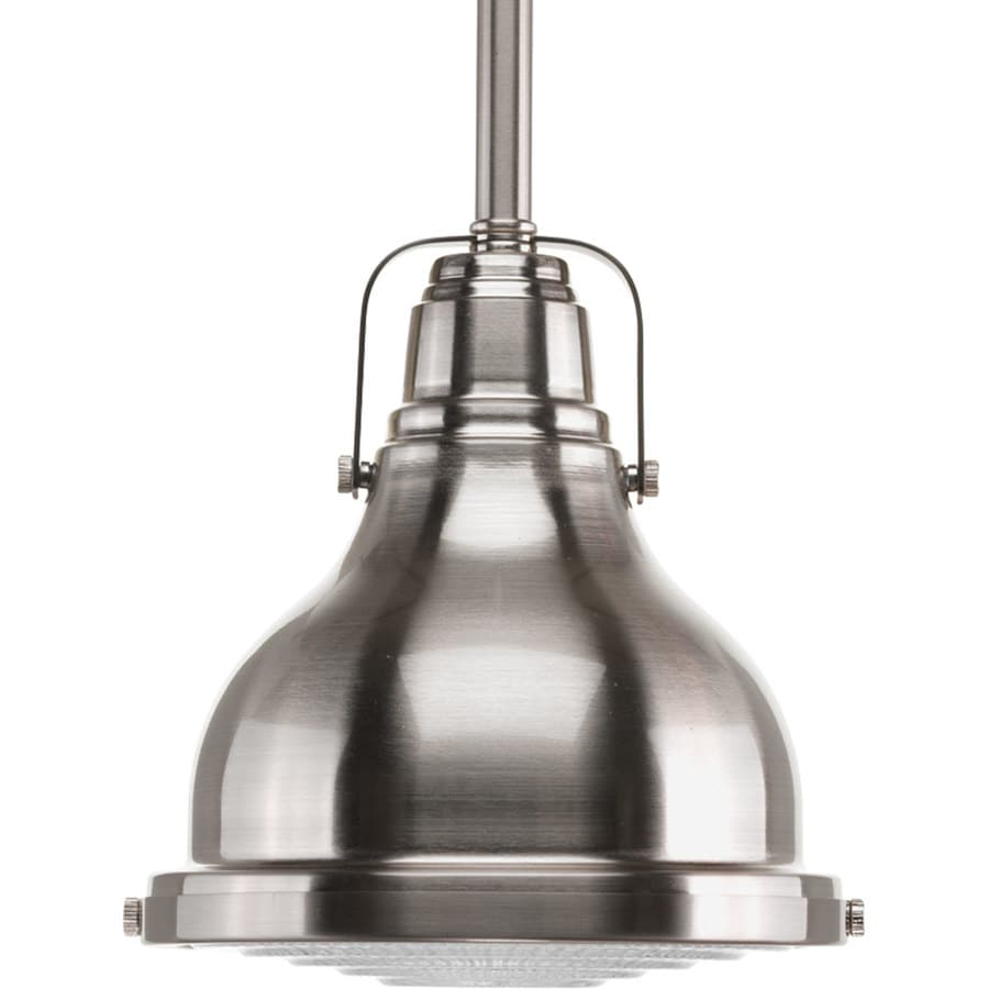 Progress Lighting Fresnel 6.125-in Brushed Nickel Mini Clear Glass Dome Pendant