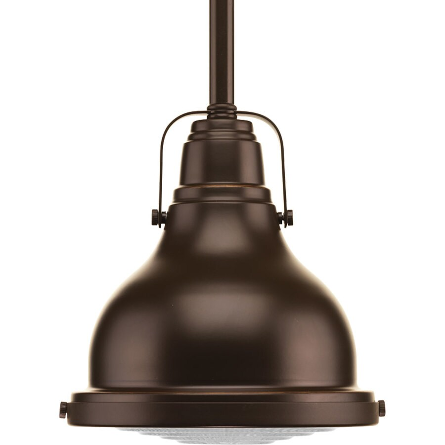 Progress Lighting Fresnel 6.125-in Oil Rubbed Bronze Mini Clear Glass Dome Pendant