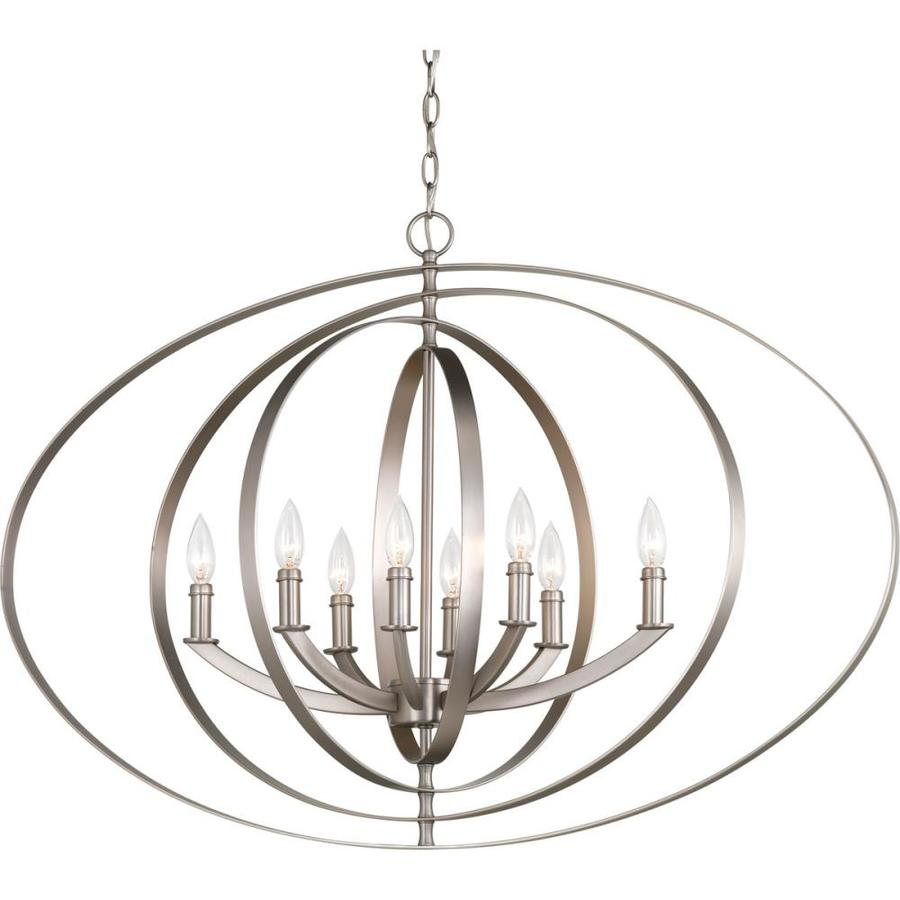 Progress Lighting Equinox 39-in 8-Light Burnished Silver Globe Chandelier