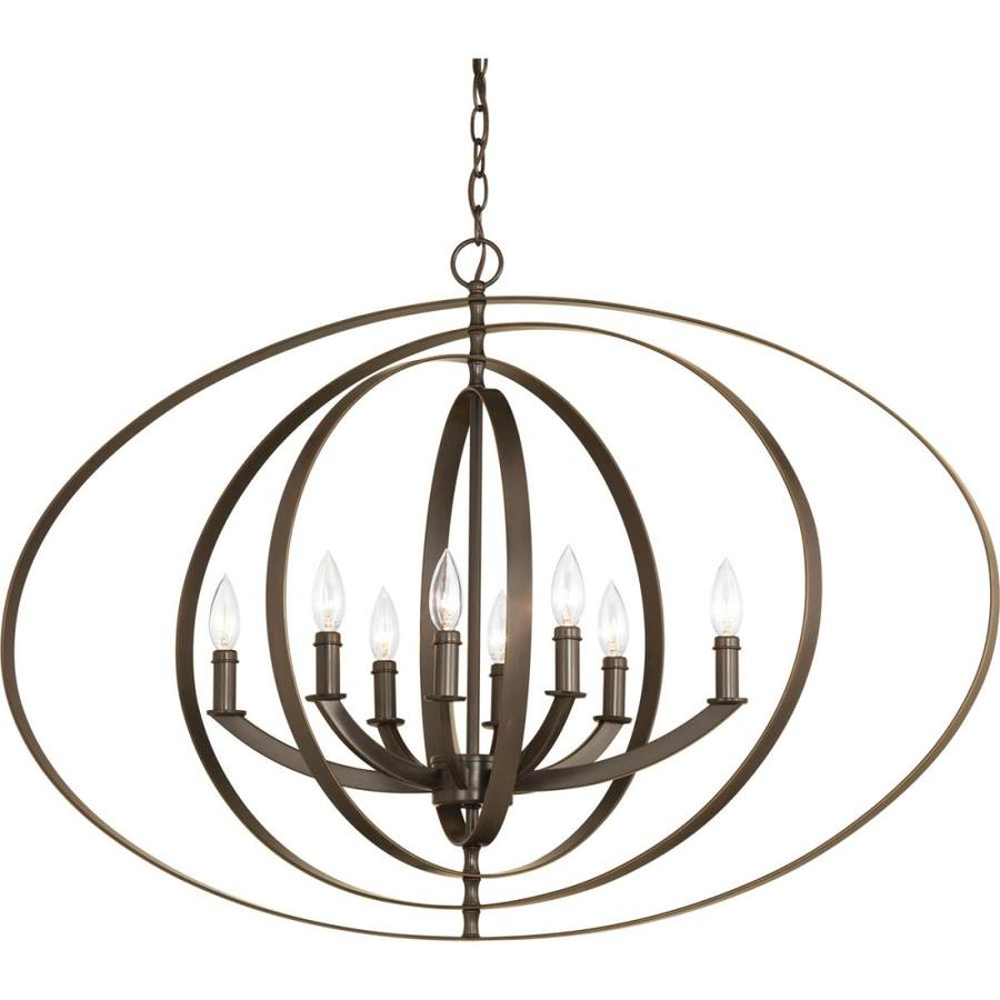 Progress Lighting Equinox 39-in 8-Light Antique Bronze Globe Chandelier