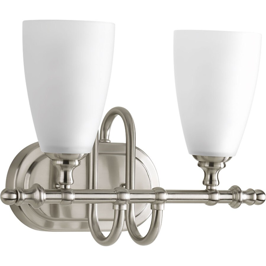 2 Light Vanity Light Brushed Nickel : Shop Progress Lighting Revive 2-Light 10.125-in Brushed Nickel Cone Vanity Light at Lowes.com