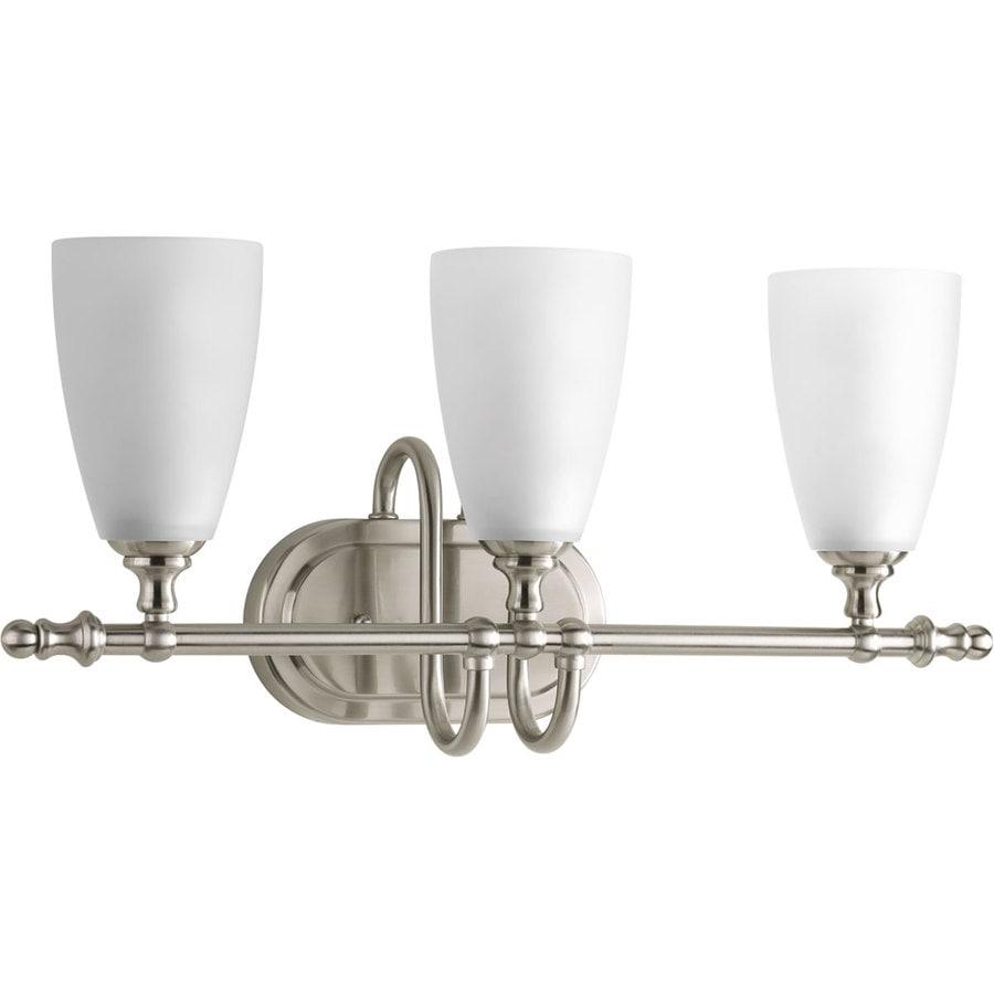 Progress Lighting Revive 3-Light 10.125-in Brushed Nickel Cone Vanity Light