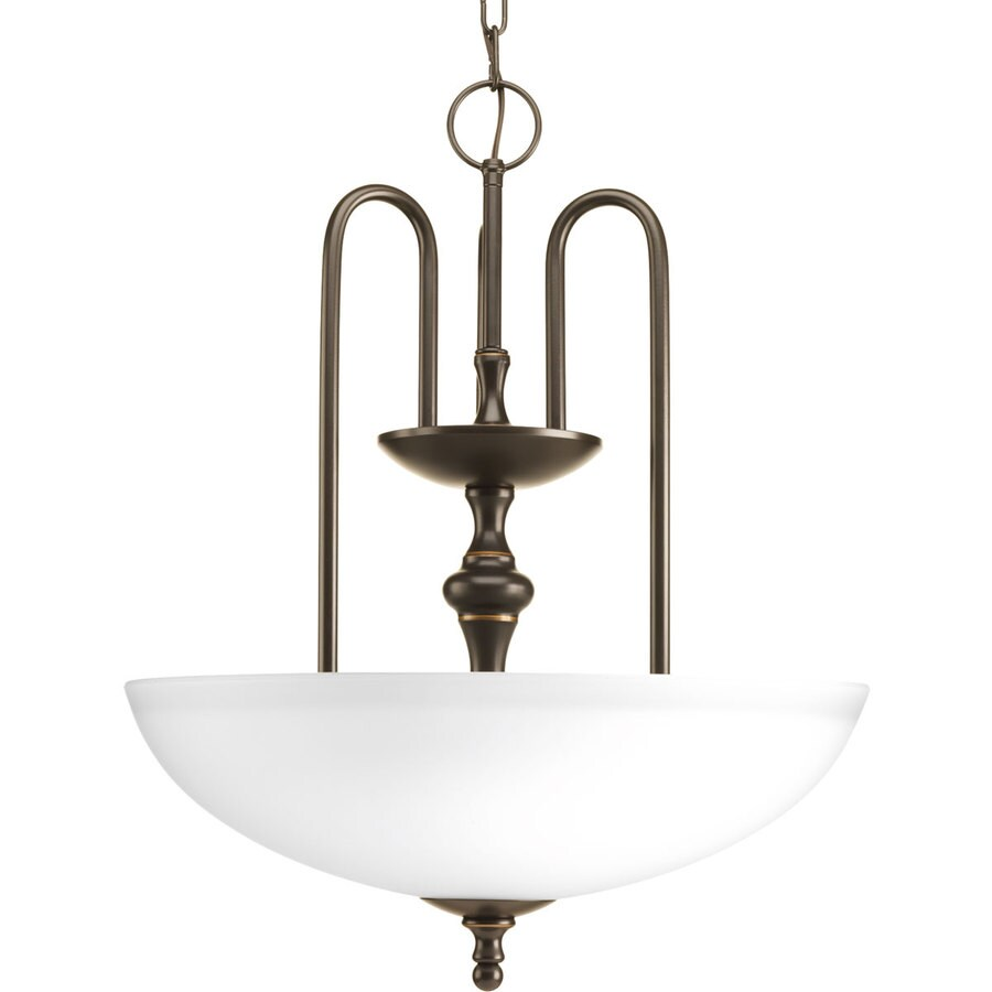 Progress Lighting Revive 17.75-in 3-Light Antique Bronze Etched Glass Shaded Chandelier