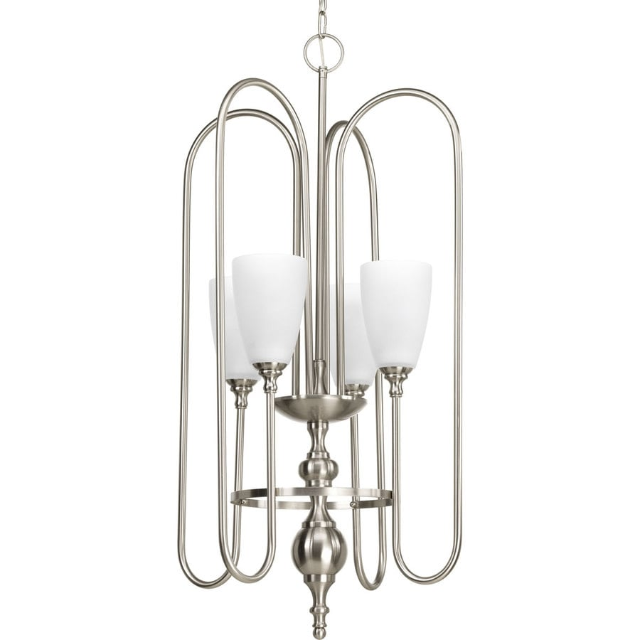 Progress Lighting Revive 17.5-in 4-Light Brushed nickel Etched Glass Shaded Chandelier