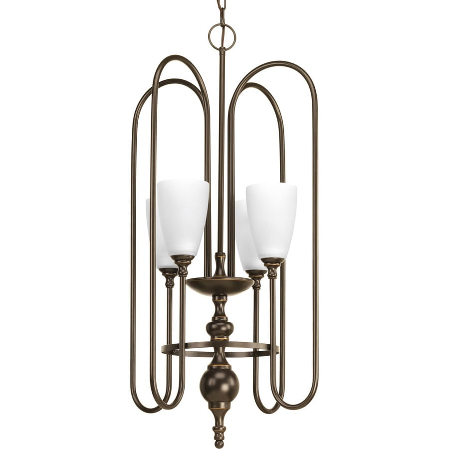 Progress Lighting Revive 17.5-in 4-Light Antique Bronze Etched Glass Shaded Chandelier