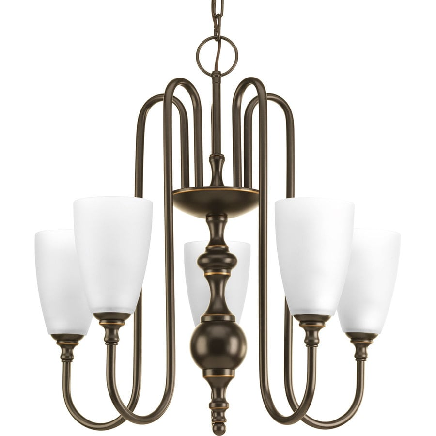 Progress Lighting Revive 22-in 5-Light Antique Bronze Etched Glass Shaded Chandelier