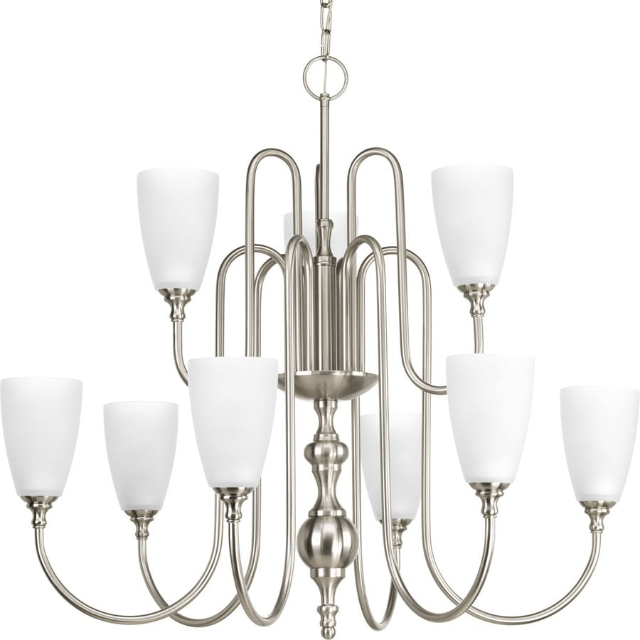 Progress Lighting Revive 32-in 9-Light Brushed Nickel Etched Glass Tiered Chandelier