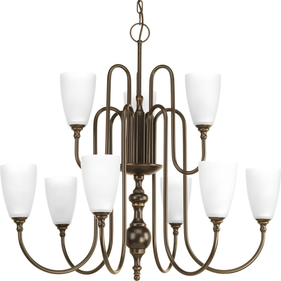 Progress Lighting Revive 32-in 9-Light Antique Bronze Etched Glass Tiered Chandelier