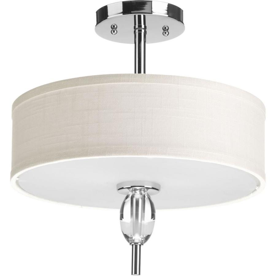 Progress Lighting Status 13-in W Polished Chrome Fabric Semi-Flush Mount Light