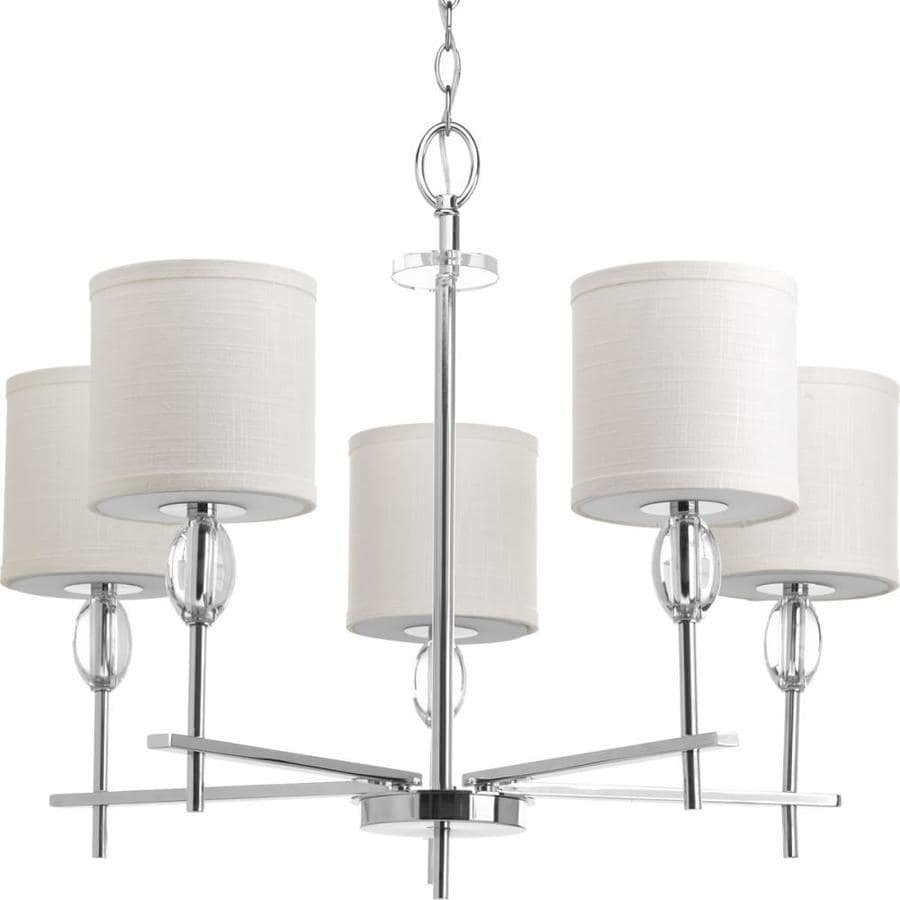 Progress Lighting Status 28-in 5-Light Polished Chrome Shaded Chandelier