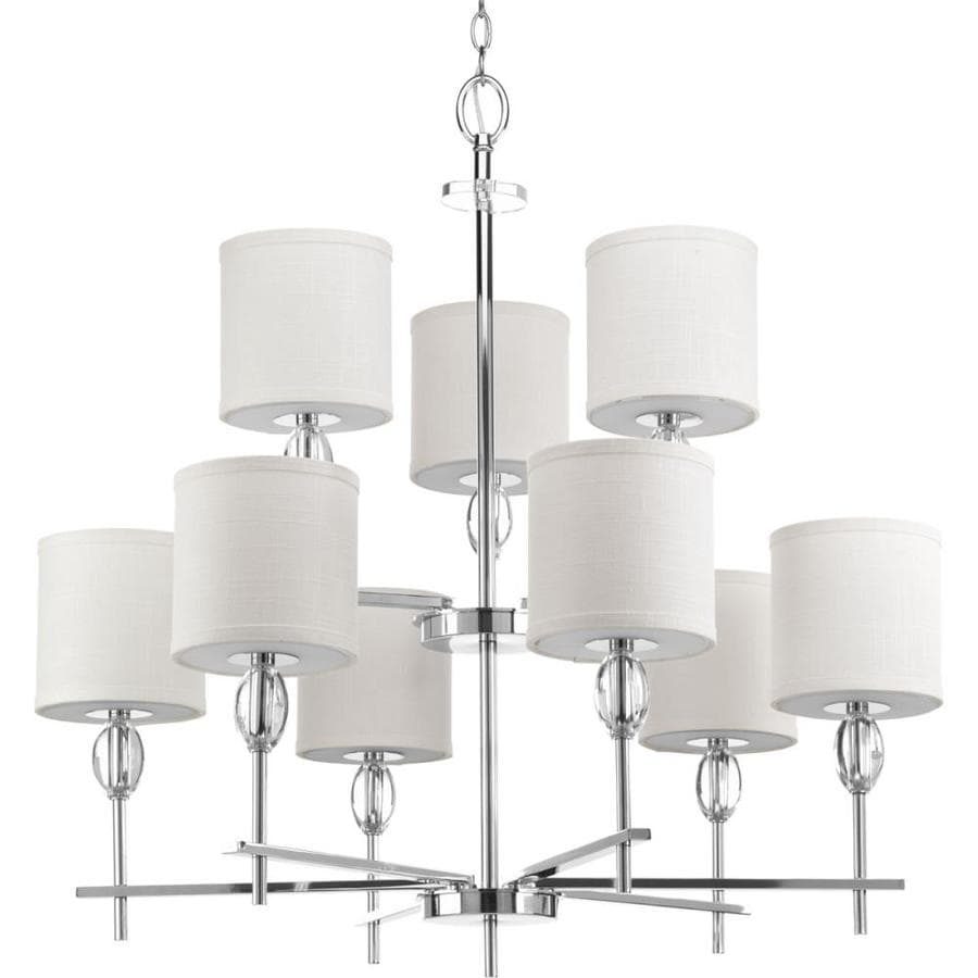 Progress Lighting Status 32-in 9-Light Polished chrome Tiered Chandelier