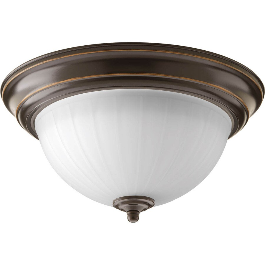 Progress Lighting Led Flush Mount 11.375-in W Antique Bronze LED Flush Mount Light