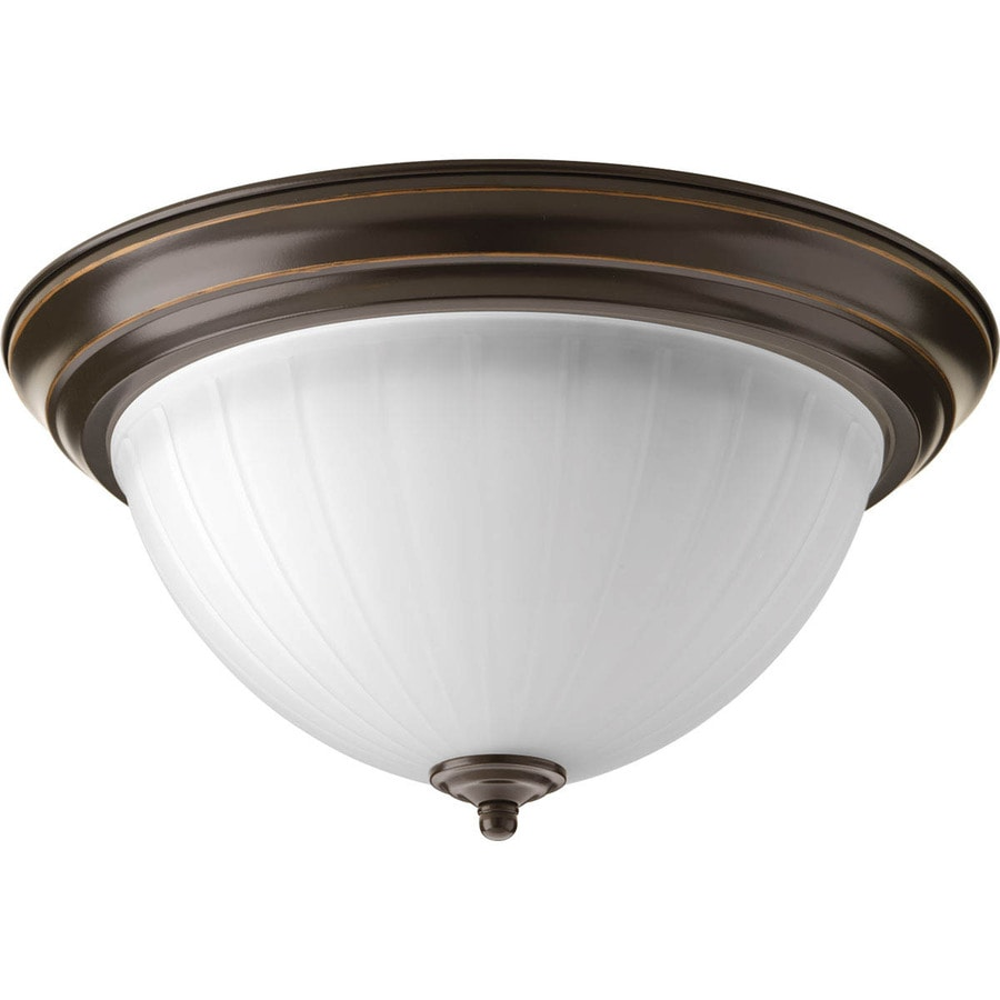 Progress Lighting LED Flush Mount 13.25-in W Antique Bronze  LED Flush Mount Light ENERGY STAR