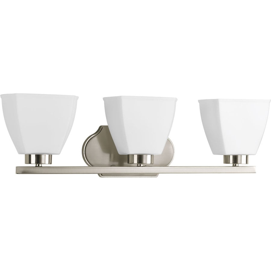 Progress Lighting Bounty 3-Light 7-in Brushed Nickel Square Vanity Light