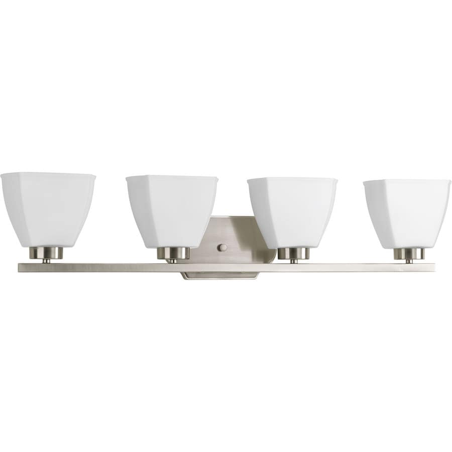 Progress Lighting Bounty 4-Light 7-in Brushed Nickel Square Vanity Light