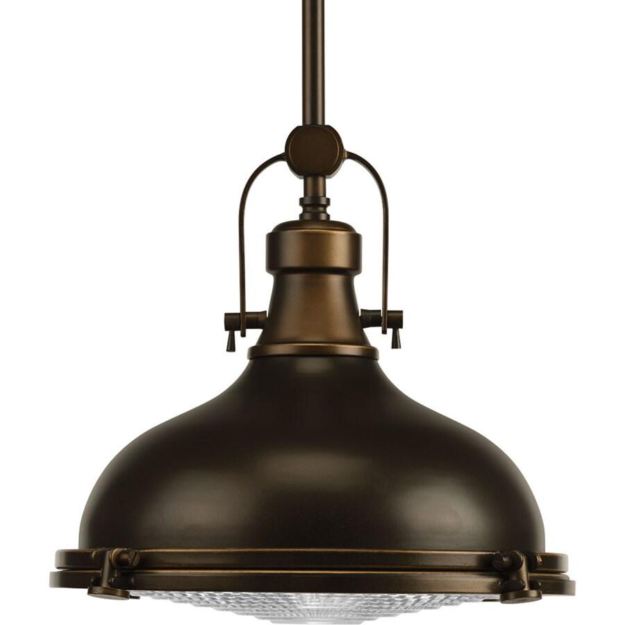 Progress Lighting Fresnel Lens 12.125-in Oil Rubbed Bronze Clear Glass Dome LED Pendant