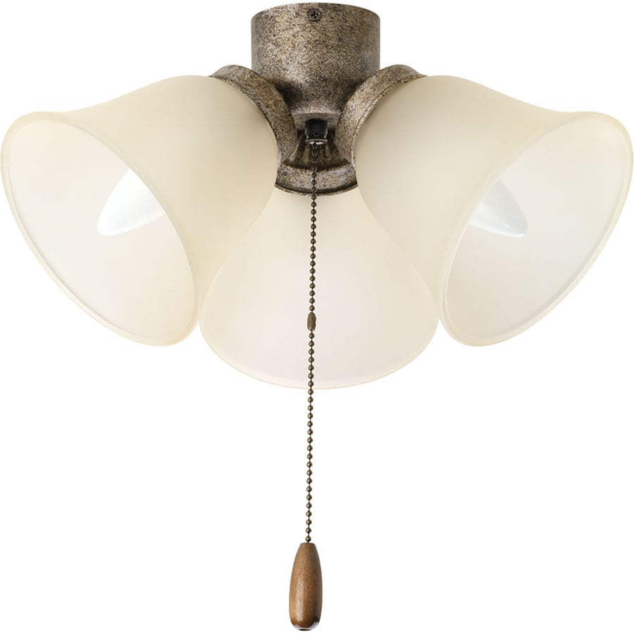 Progress Lighting Airpro 3-Light Pebbles Incandescent Ceiling Fan Light Kit with Etched Glass