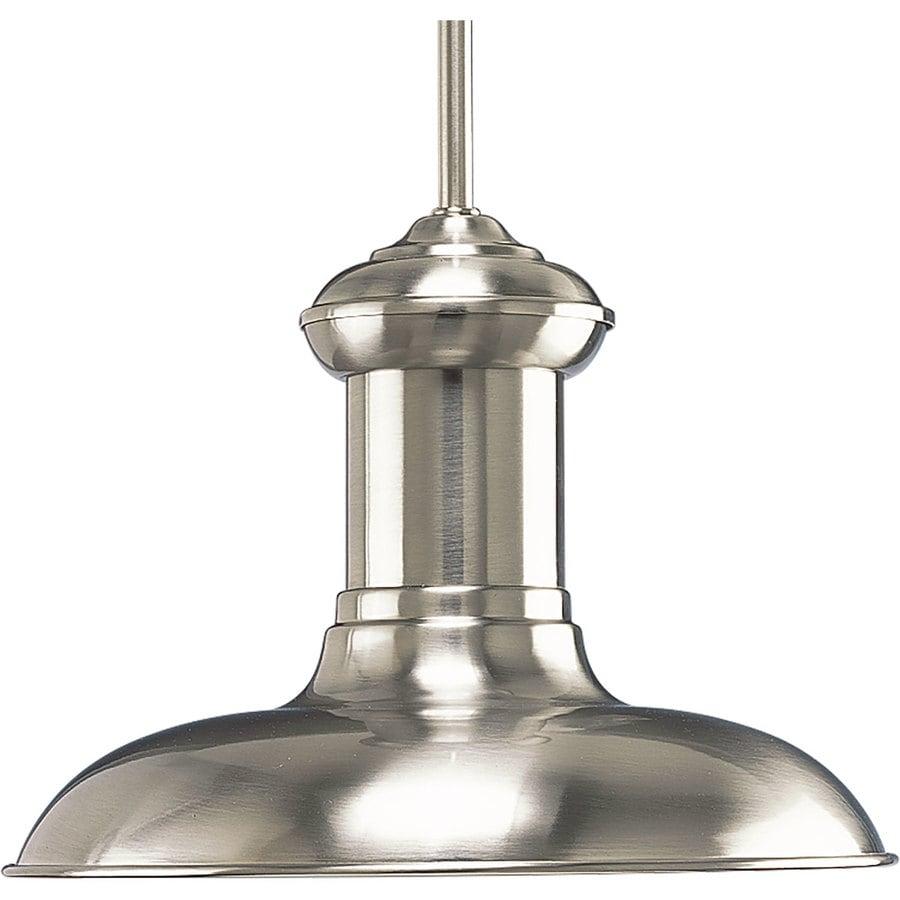 Progress Lighting Brookside 12-in Brushed Nickel Mini Textured Glass Dome LED Pendant