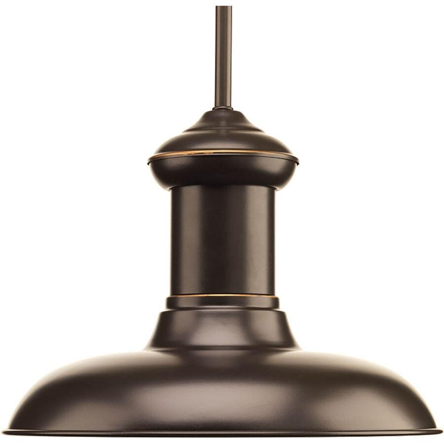 Progress Lighting Brookside 12-in Antique Bronze Mini Textured Glass Dome LED Pendant