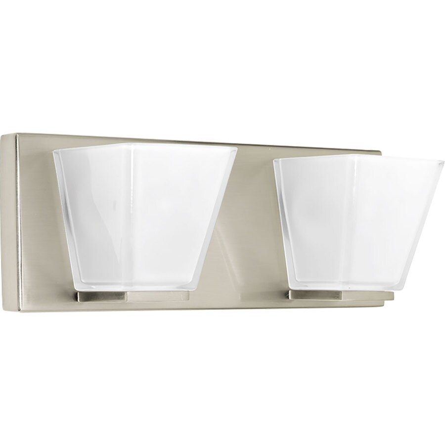 Progress Lighting Streaming 2-Light 5-in Brushed nickel Square Vanity Light