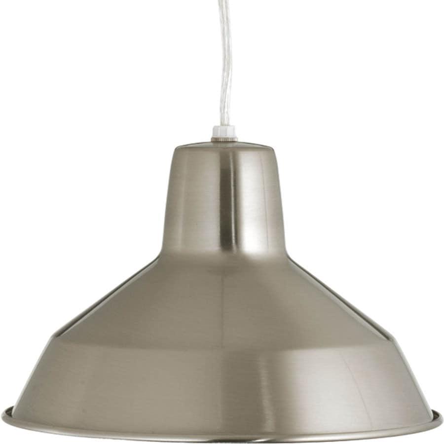 Progress Lighting Metal Shade Pendants 10.125-in Brushed Nickel Mini Textured Glass Bell LED Pendant