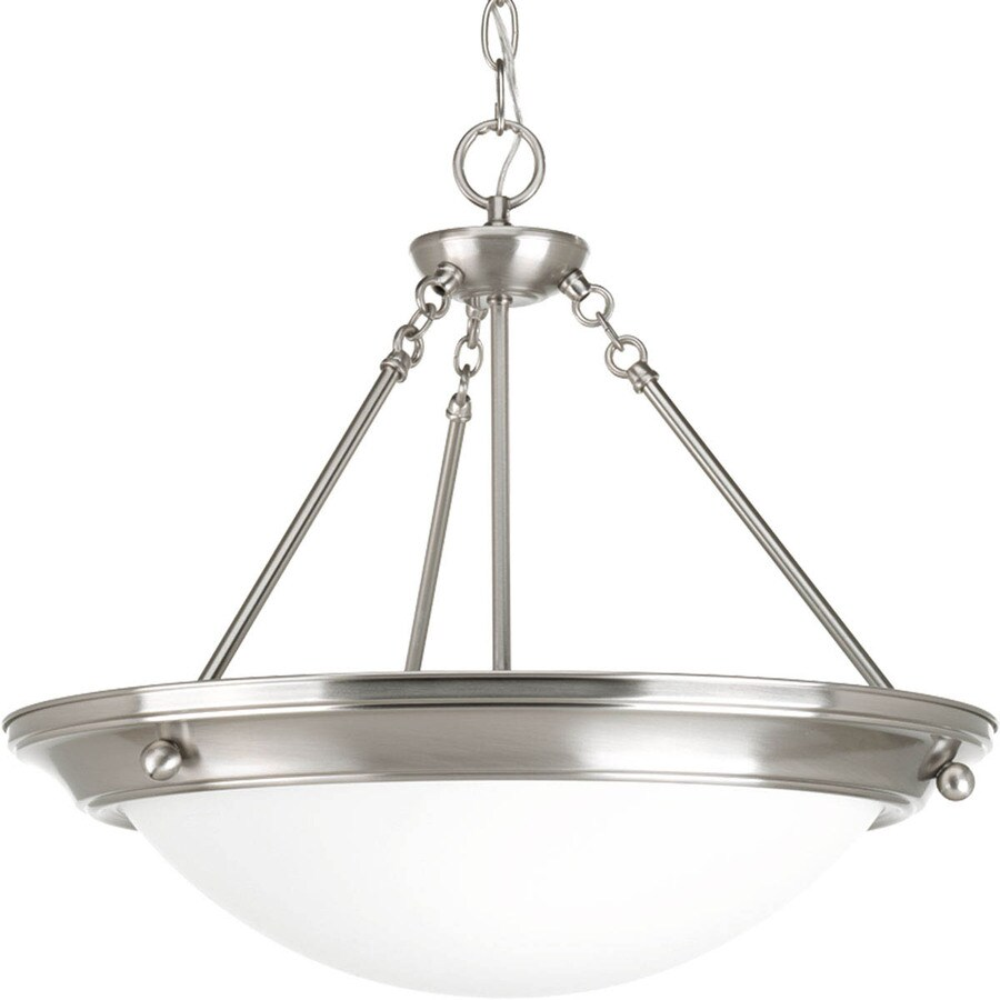 Progress Lighting Eclipse 27.375-in 4-Light Brushed Nickel Shaded Chandelier