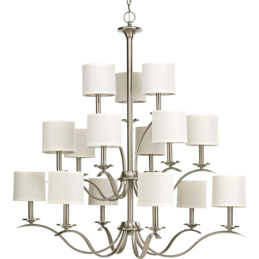 Progress Lighting Inspire 39.5-in 15-Light Brushed nickel Tiered Chandelier