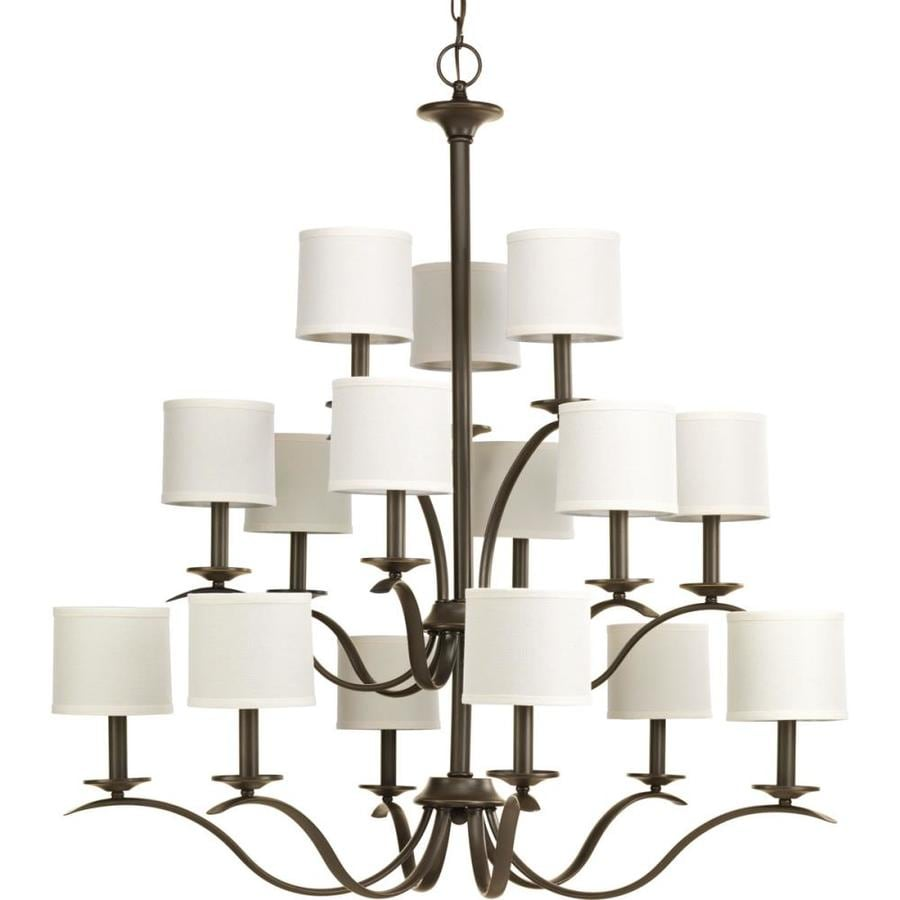 Progress Lighting Inspire 39.5-in 15-Light Antique Bronze Tiered Chandelier