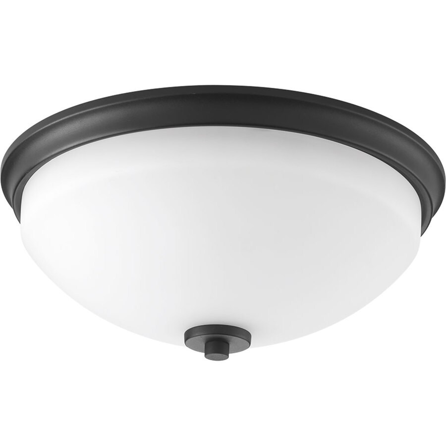 Progress Lighting Replay 14-in W Black Flush Mount Light