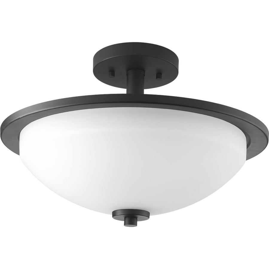 Progress Lighting Replay 14.75-in W Black Etched Glass Semi-Flush Mount Light
