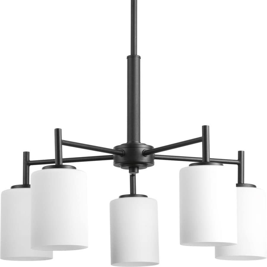 Progress Lighting Replay 21-in 5-Light Black Etched Glass Shaded Chandelier