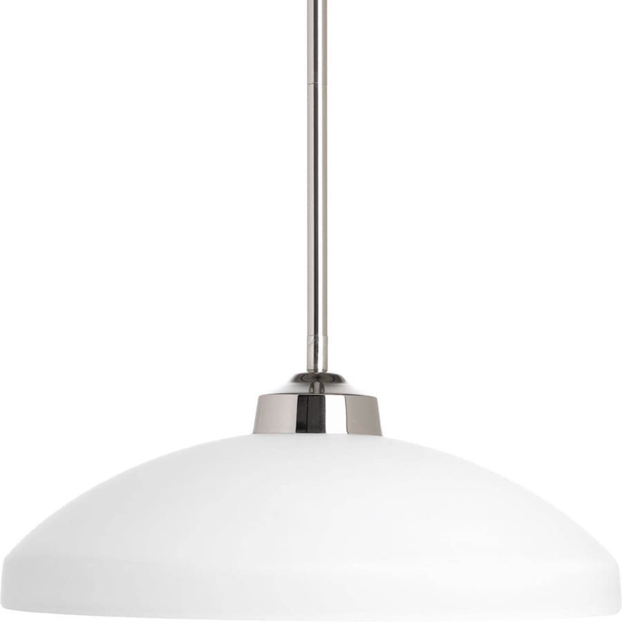 Progress Lighting Replay 14.375-in Polished Nickel Mini Etched Glass Dome Pendant