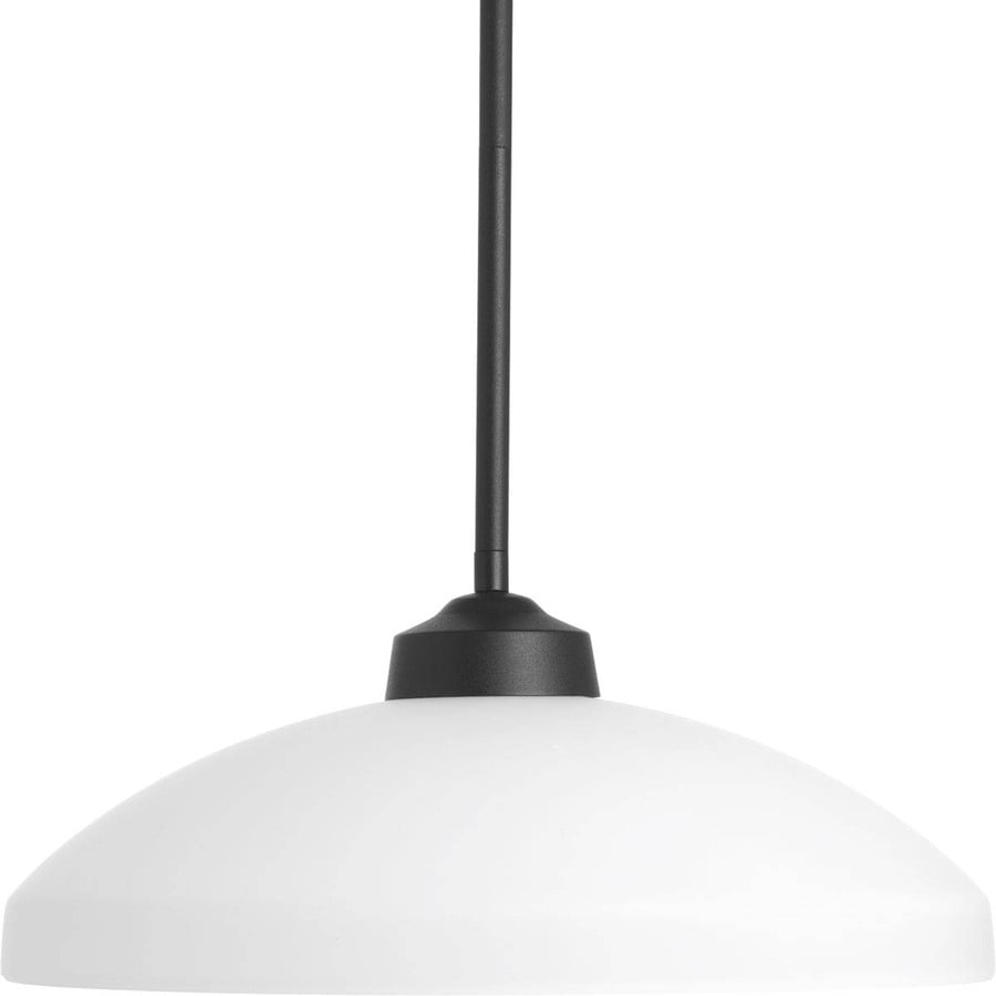 Progress Lighting Replay 14.375-in Black Mini Etched Glass Dome Pendant