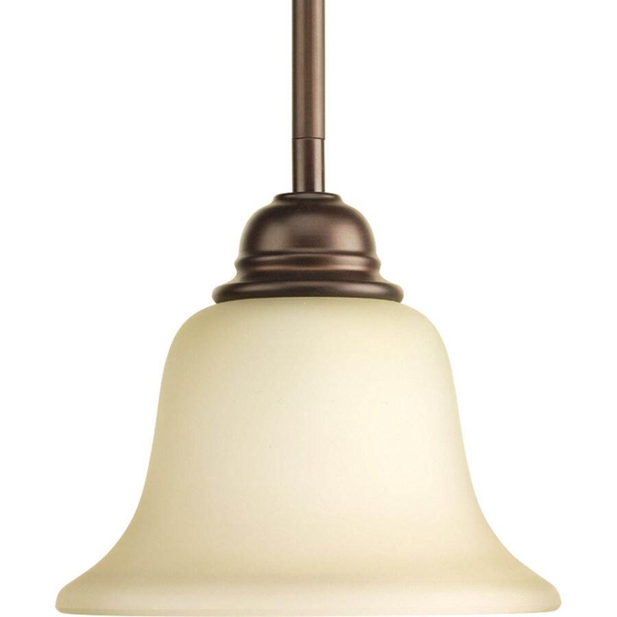Progress Lighting Spirit 7.125-in Antique Bronze Mini Etched Glass Bell Pendant