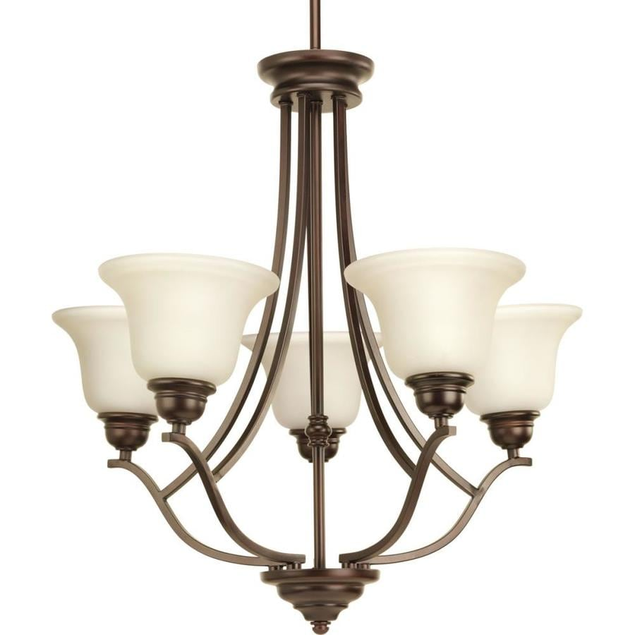Progress Lighting Spirit 25.5-in 5-Light Antique Bronze Tinted Glass Shaded Chandelier