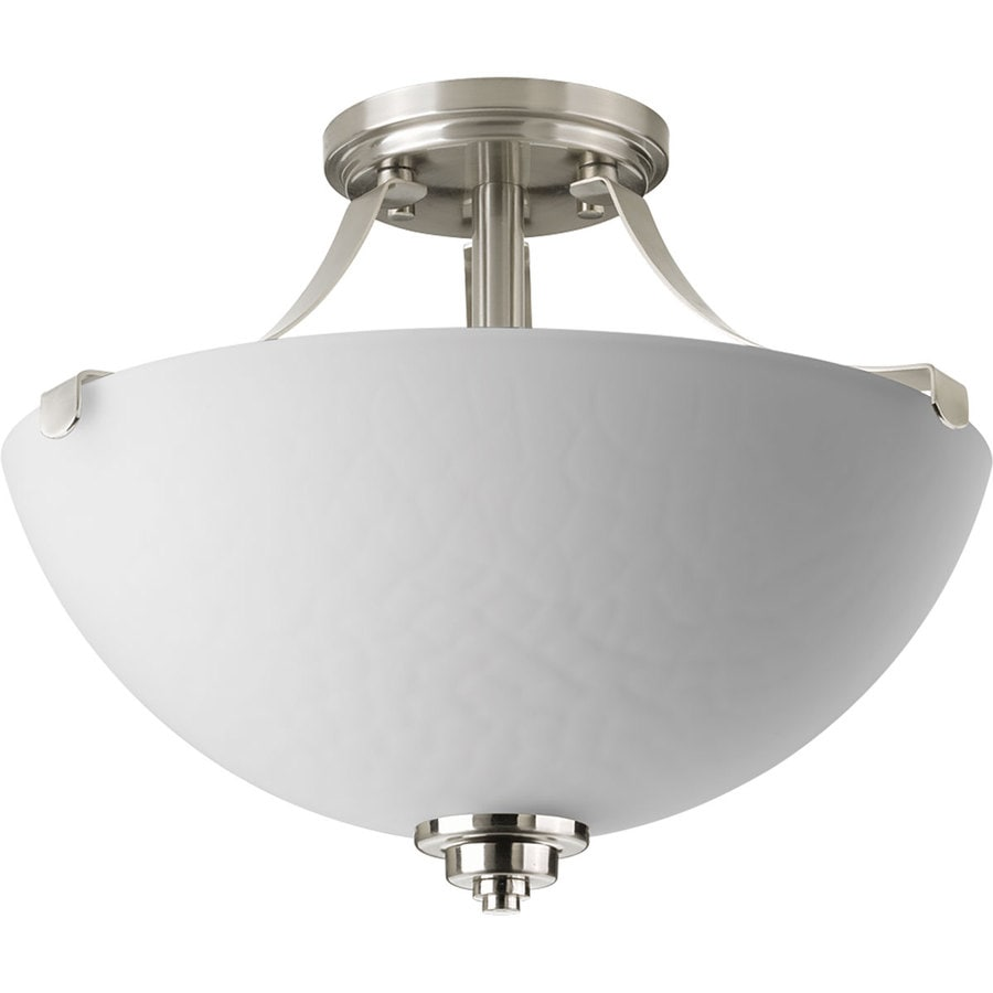 Progress Lighting Legend 14.5-in W Brushed Nickel Textured Semi-Flush Mount Light