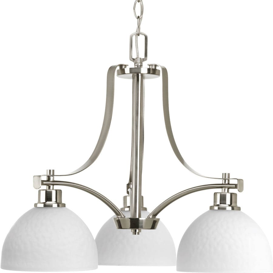 Progress Lighting Legend 22-in 3-Light Brushed Nickel Etched Glass Shaded Chandelier