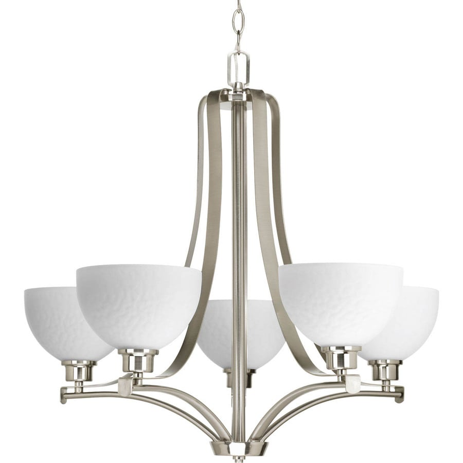 Progress Lighting Legend 28-in 5-Light Brushed Nickel Etched Glass Shaded Chandelier