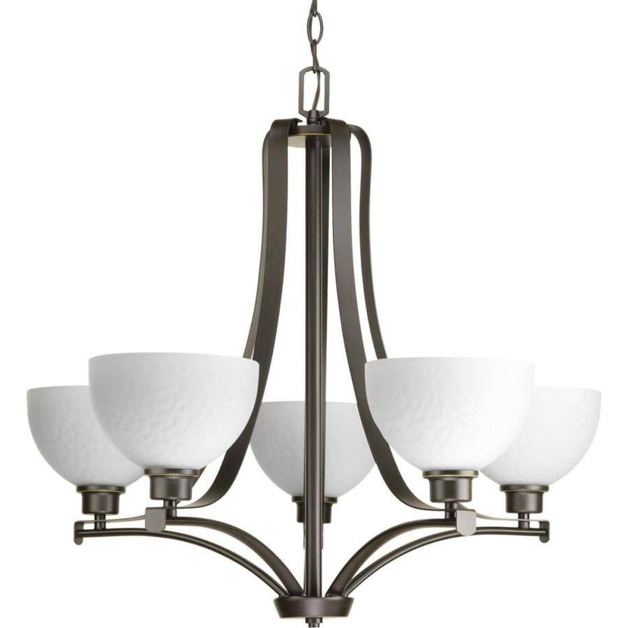 Progress Lighting Legend 28-in 5-Light Antique Bronze Etched Glass Shaded Chandelier