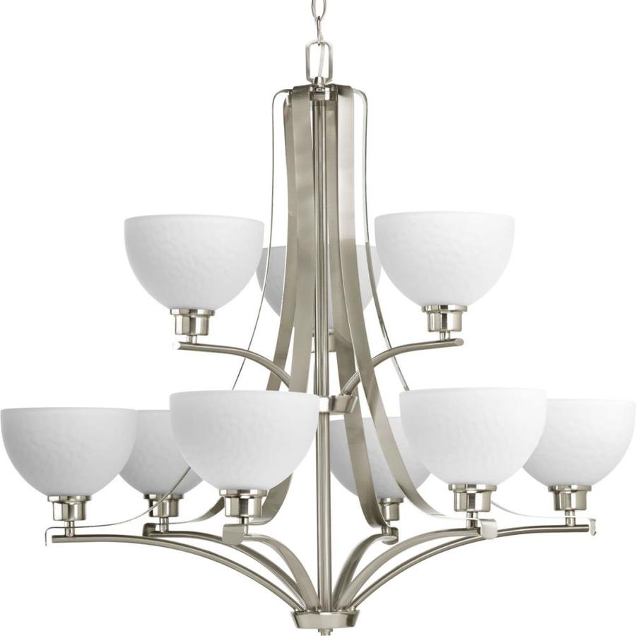 Progress Lighting Legend 33-in 9-Light Brushed nickel Etched Glass Tiered Chandelier