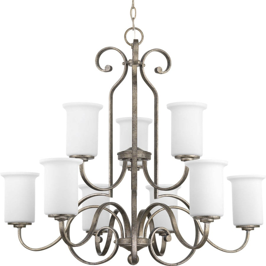 Progress Lighting Stroll 32-in 9-Light Pebbles Etched Glass Tiered Chandelier