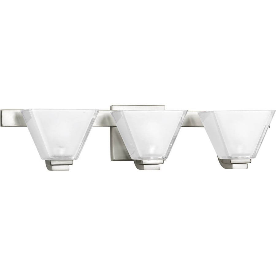 Progress Lighting Sync 3-Light 5.75-in Brushed Nickel Square Vanity Light