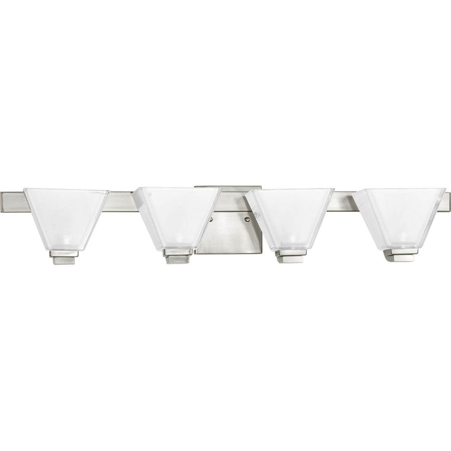 Progress Lighting Sync 4-Light 5.75-in Brushed Nickel Square Vanity Light