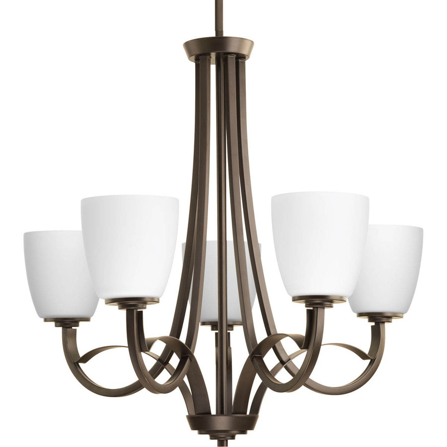 Progress Lighting Merge 27.5-in 5-Light Antique Bronze Etched Glass Shaded Chandelier