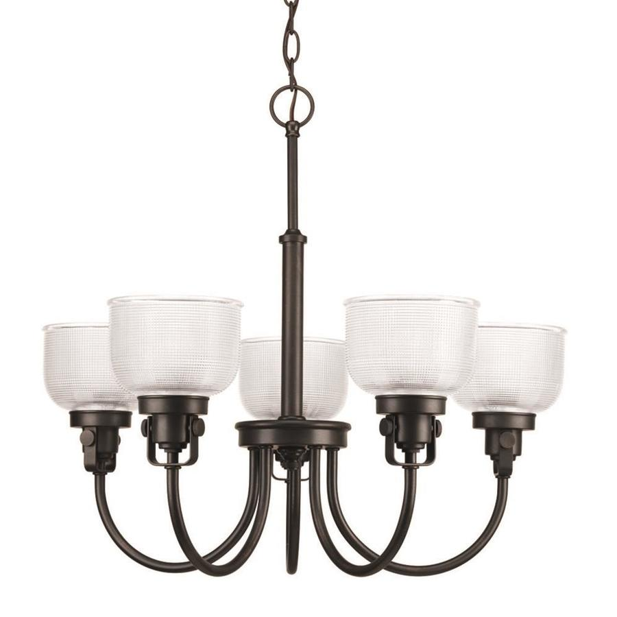 Progress Lighting Archie 25-in 5-Light Venetian Bronze Clear Glass Shaded Chandelier